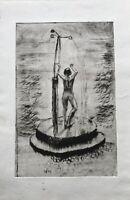 Aquatinta Radierung Stehender weiblicher Akt Dusche Female Nude Showering