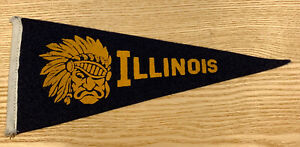 """Vintage University Of Illinois Mini Pennant Fighting Illini Felt 9"""" RARE LOGO"""