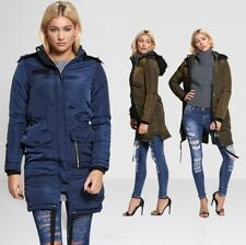 WOMENS PARKA COAT BRAVE SOUL WATER RESISTANT FUR HOODED STYLISH WINTER JACKET