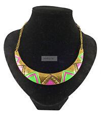 Retro Vintage Gold Tribal Crescent Green Purple Geometric Necklace