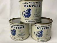 (3) 12 Oz Madison Seafood Co Madison MD Quality Fresh Shucked Oysters Can w/ Lid
