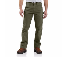 CARHARTT Pants 35 33 GREEN Twill CARPENTER Utility MENS Size B324 ARG Relaxed SZ