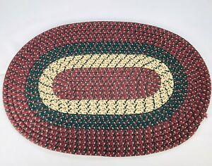"Country Prim Braided Oval Rug Americana Colonial Green Red Tan 30"" Folk Art"