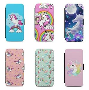 Cute Magical Unicorn Rainbow Pattern WALLET FLIP PHONE CASE COVER FOR SAMSUNG