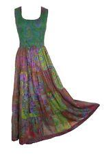 D Patchwork Long Boho Maxi Dress Sleeveless Party Evening Size 14 16 18 20 22 24