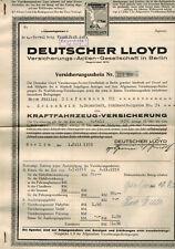 DEUTSCHER LLOYD 1935  Kraftfahrzeugversicherung  dreirad Güterwagen GOLIATH (992