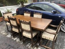 Shabby Chic Large Vintage Jacobean Style Oak Extending Dining Table & 6 Chairs