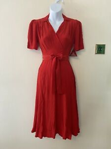 The Seamstress Of Bloomsbury Nancy Dress In Red Size 10 BNWT RRP £79