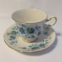 Queen Anne Ridgway Bone China Cup & Saucer Turquoise Flowers Pattern 8500