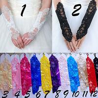 Paire de mitaines dentelle mariage gants mariée opéra soirée satin 28cm