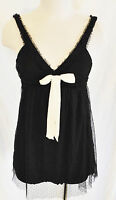 Vtg 90s CUTE BoHo CHIC Sheer Lace Empire Baby Doll Blouse Tank Top S