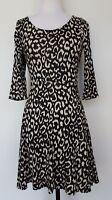 ATMOSPHERE Black/Cream Animal Print Stretch Dress Size UK 10