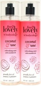 2 Ct Bodycology 8 Oz Free & Lovely Coconut & Rose Essential Oil Refreshing Mist