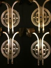 RARE Stunning Set (4) Antique Art Deco Chrome Sconces From Private Collection