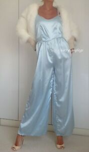 Gorgeous Baby Blue Glossy Satin Jumpsuit Wide Leg Trousers size L - 14