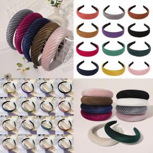 Women Striped Velvet Headwear Headband DIY Padded Wide Headpiece Hair Hoop Bands