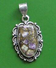 """STUNNING CHAROITE IN COPPER 925 SILVER PLATED PENDANT 2"""" ANTIQUE LOOK!!!!!!"""