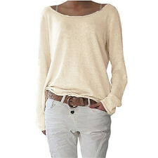 Women Casual Loose Style Knit Blouse Long Sleeve Ladies Top Tees Plus Size 3XL