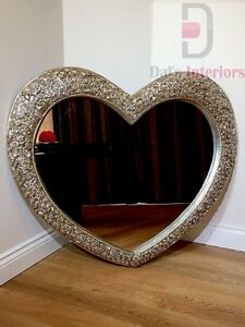 Heart Wall Mirror in Champagne Silver with French Engraved Roses - 110cm