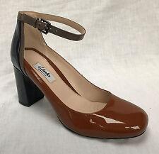 Clarks Ladies Gabriel Candy Cognac/navy Patent Leather Court Shoes UK 4 D - Standard Fitting