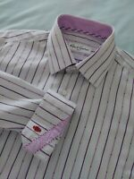 Robert Graham Button Front Flip Cuff Striped Dress Shirt Lilac Purple Sz 39 15.5