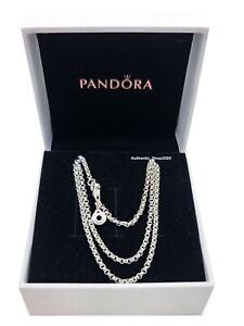 NEW 100% Authentic PANDORA 925 Silver Logo Rolo Chain Necklace 399260C00