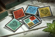 Clear Glass & Metal LOVE Hearts Coasters Set 4 w/ Holder by J Devlin Glass Art