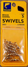 Bass, Trout Fishing Swivel, 1 Pack Of 12 Walker #5 Brass Barrel Swivels