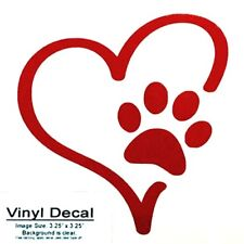 Red Paw Print Heart Vinyl Oracal 651 sticker decal for multi-surfaces.