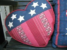 Indoor Outdoor Pillow Patriotic Heart Quilted Embroidered Red White Blue Flag