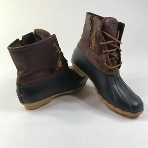 Sperry Saltwater Duck Boots Round Toe Ankle Height Dark Brown Lace Up Womens 8 M