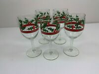 Lot of 5 Libbey Christmas Holly Berry Wine Water Glasses Stemware Vintage