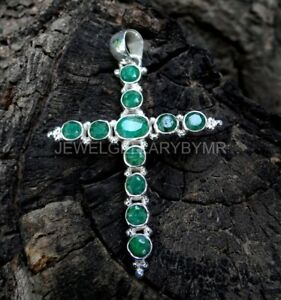 Solid 925 Sterling Silver Jewelry Beautiful Emerald Stone Cross Pendant RD-076