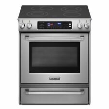 KitchenAid 30-Inch 4-Element Electric Slide-In Range Pro Line Series KESS907XSP
