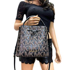 Michael Kors Suri Bucket Messenger Medium Signature Graphic Logo Bag Brown Black