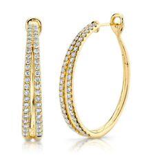 14K Yellow Gold Diamond Split Oval Hoop Hinged Earrings Round Cut Natural 1.76CT