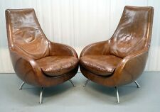 PAIR OF TANNED BROWN LEATHER ROLF BENZ ARMCHAIRS