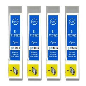 4 Cyan Ink Cartridges for Epson Stylus BX3450, DX4000, DX4050, DX7400, SX200