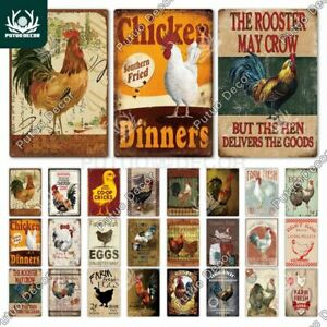 Vintage Farmhouse Tin Metal Sign Chicken Wall Decor Rooster Retro COLLECTION