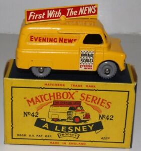 MATCHBOX LESNEY #42A BEDFORD EVENING NEWS VAN, GPW, EXCELLENT, BOXED TYPE C #3