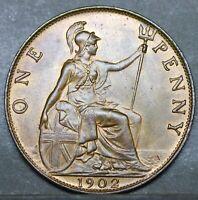 Edward VII Bronze Penny, 1902. Almost BUNC. Prooflike Finish  (Not Matt)