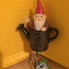 Small Garden Gnome  Yard Stick Sitting In A Watering Can Fairy Hobbit Garden
