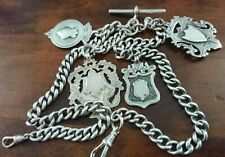 Antique Heavy Solid Silver Double Albert Pocket Watch Chain +4 Fob's 77.5 Gram.