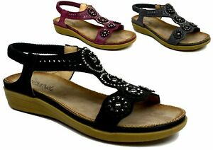Ladies New Low Wedge Heel Stone Established Open Toe Strappy Summer Beach Sandal