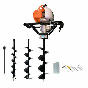 Petrol Earth Auger 3HP Post Hole Borer Ground Drill with 3 Bits