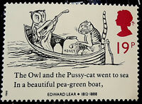 LOT of 7x__Genuine POSTAGE STAMPS 19p of EDWARD LEAR 1912-1888 literary nonsense