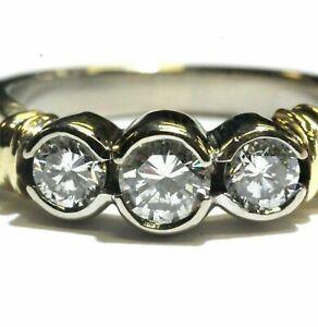 14k white yellow gold .72ct half bezel set 3-stone round diamond band ring 5.4g