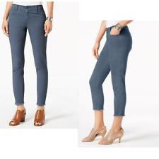 Style & Co Petite Fray Hem Studded Skinny Chino Ankle Pants Uniform Blue NWT 16P