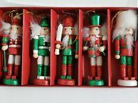"World Market Nutcracker Wood Christmas Ornaments 5"" Tall Set of 5 EUC"