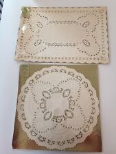 Vintage paper doilies pakay party papers by gibson set of round and rectangular